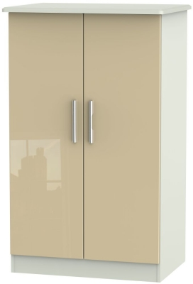 Knightsbridge 2 Door Midi Wardrobe - High Gloss Mushroom and Kaschmir Matt