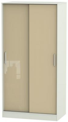 Knightsbridge 2 Door Sliding Wardrobe - High Gloss Mushroom and Kaschmir Matt
