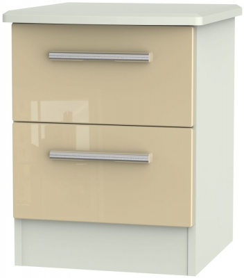 Knightsbridge 2 Drawer Bedside Cabinet - High Gloss Mushroom and Kaschmir Matt