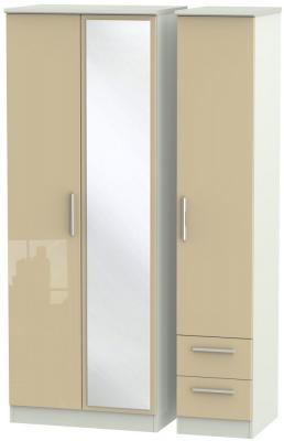 Knightsbridge 3 Door 2 Right Drawer Tall Combi Wardrobe - High Gloss Mushroom and Kaschmir Matt