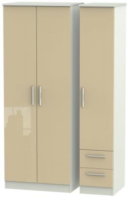 Knightsbridge 3 Door 2 Right Drawer Tall Wardrobe - High Gloss Mushroom and Kaschmir Matt