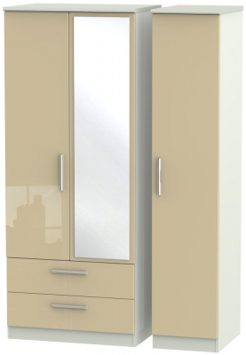 Knightsbridge High Gloss Mushroom and Kaschmir Matt 3 Door 2 Left Drawer Mirror Triple Wardrobe