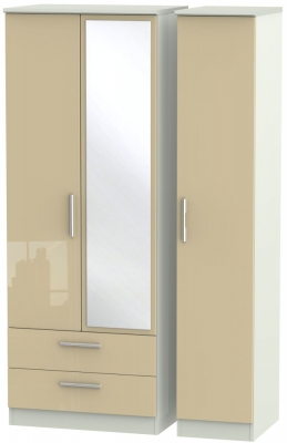 Knightsbridge 3 Door 2 Left Drawer Tall Combi Wardrobe - High Gloss Mushroom and Kaschmir Matt