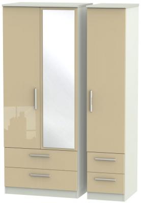 Knightsbridge 3 Door 4 Drawer Combi Wardrobe - High Gloss Mushroom and Kaschmir Matt