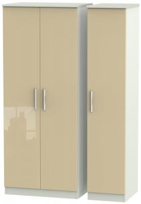Knightsbridge 3 Door Wardrobe - High Gloss Mushroom and Kaschmir Matt