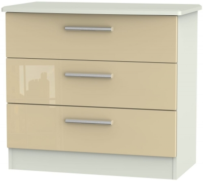 Knightsbridge 3 Drawer Chest - High Gloss Mushroom and Kaschmir Matt