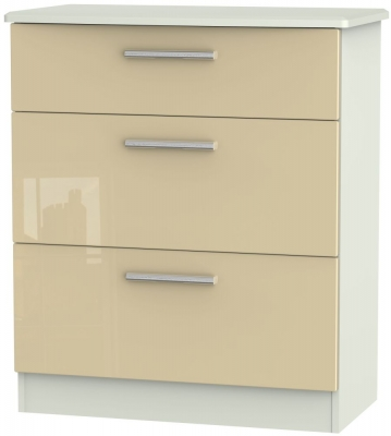 Knightsbridge 3 Drawer Deep Chest - High Gloss Mushroom and Kaschmir Matt