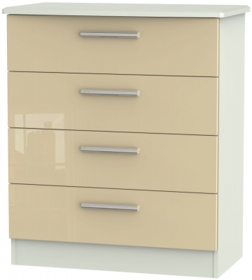 Knightsbridge 4 Drawer Chest - High Gloss Mushroom and Kaschmir Matt