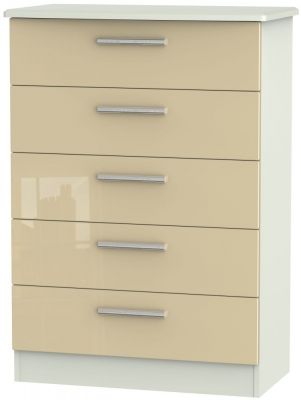 Knightsbridge 5 Drawer Chest - High Gloss Mushroom and Kaschmir Matt
