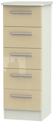 Knightsbridge 5 Drawer Tall Chest - High Gloss Mushroom and Kaschmir Matt