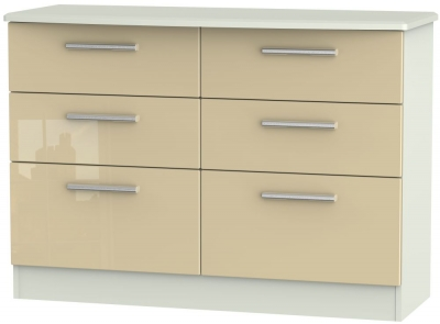 Knightsbridge 6 Drawer Midi Chest - High Gloss Mushroom and Kaschmir Matt