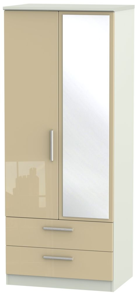 Knightsbridge High Gloss Mushroom and Kaschmir Matt 2 Door 2 Drawer Mirror Wardrobe