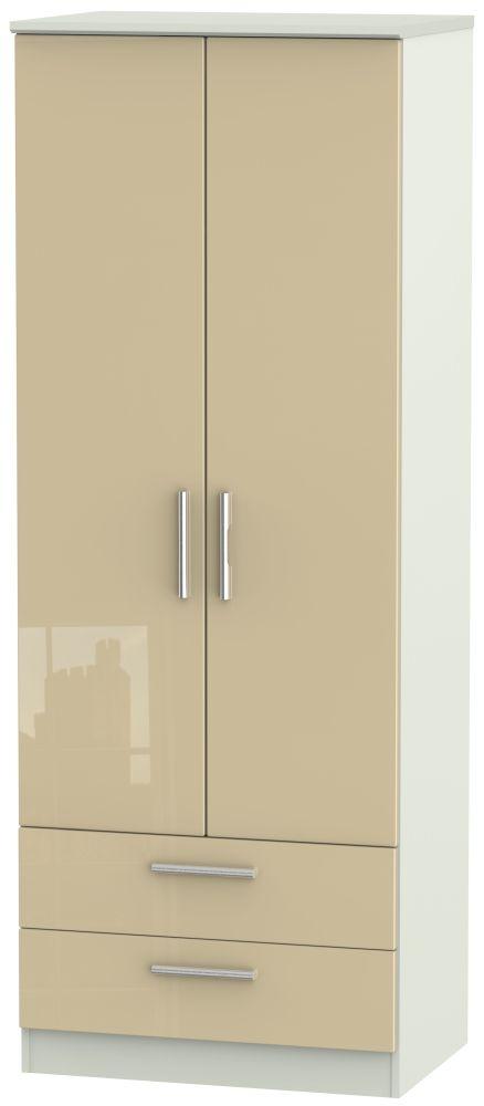 Knightsbridge High Gloss Mushroom and Kaschmir Matt 2 Door 2 Drawer Tall Double Wardrobe