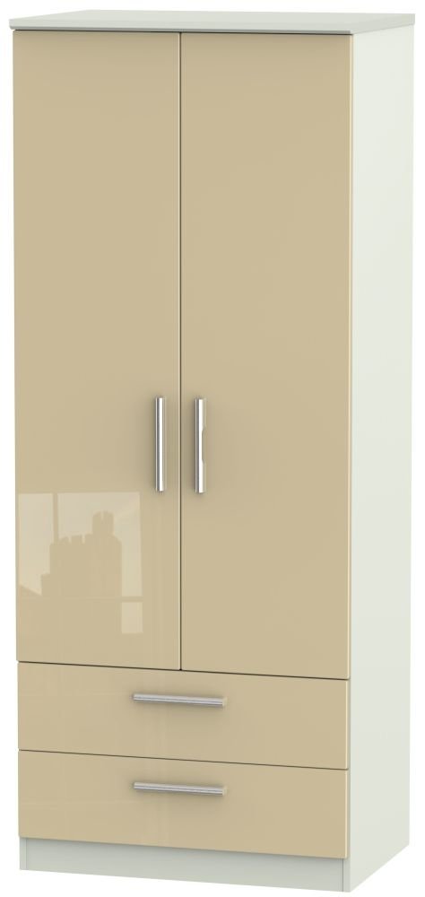Knightsbridge 2 Door 2 Drawer Wardrobe - High Gloss Mushroom and Kaschmir Matt