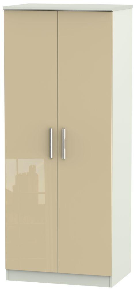 Knightsbridge 2 Door Wardrobe - High Gloss Mushroom and Kaschmir Matt