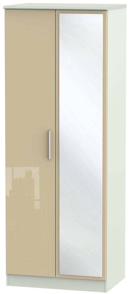 Knightsbridge 2 Door Tall Mirror Wardrobe - High Gloss Mushroom and Kaschmir Matt