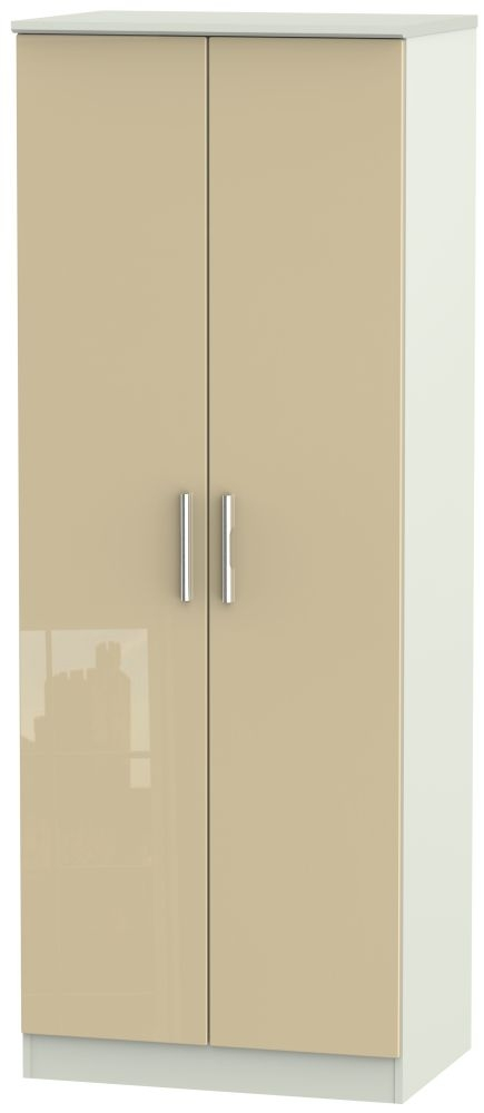 Knightsbridge 2 Door Tall Wardrobe - High Gloss Mushroom and Kaschmir Matt
