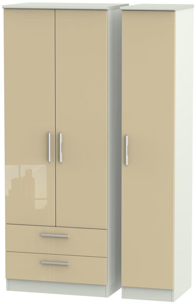 Knightsbridge High Gloss Mushroom and Kaschmir Matt 3 Door 2 Drawer Tall Triple Wardrobe
