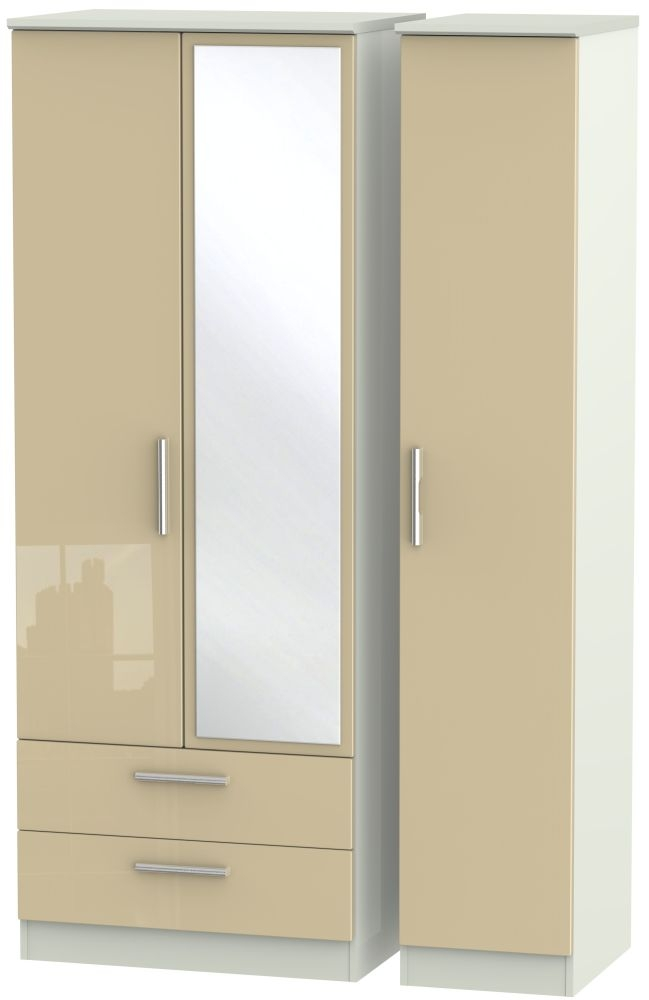 Knightsbridge High Gloss Mushroom and Kaschmir Matt 3 Door 2 Left Drawer Tall Mirror Triple Wardrobe