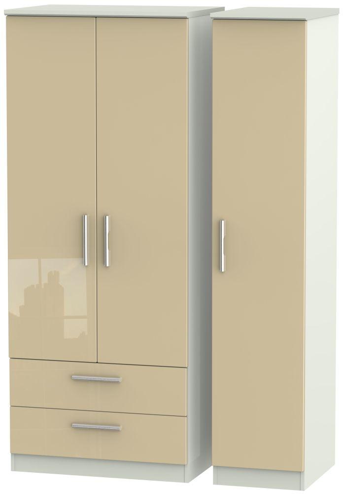 Knightsbridge 3 Door 2 Left Drawer Wardrobe - High Gloss Mushroom and Kaschmir Matt