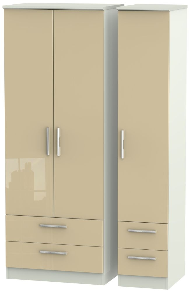 Knightsbridge High Gloss Mushroom and Kaschmir Matt 3 Door 4 Drawer Tall Triple Wardrobe