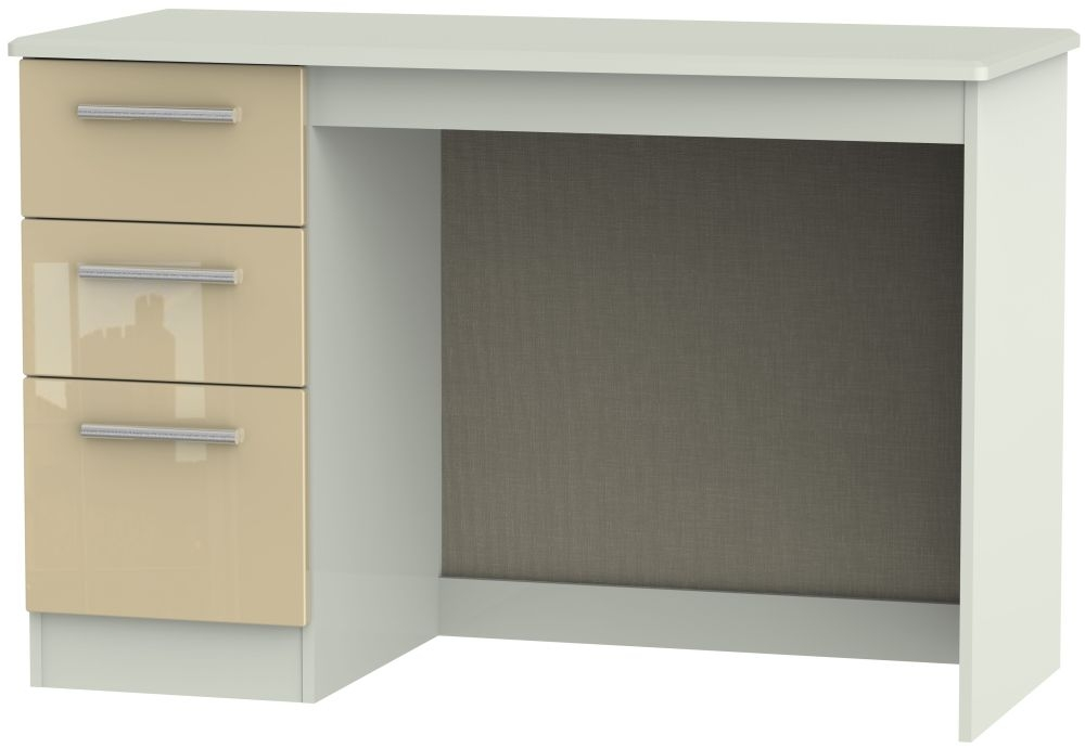 Knightsbridge High Gloss Mushroom and Kaschmir Matt 3 Drawer Desk