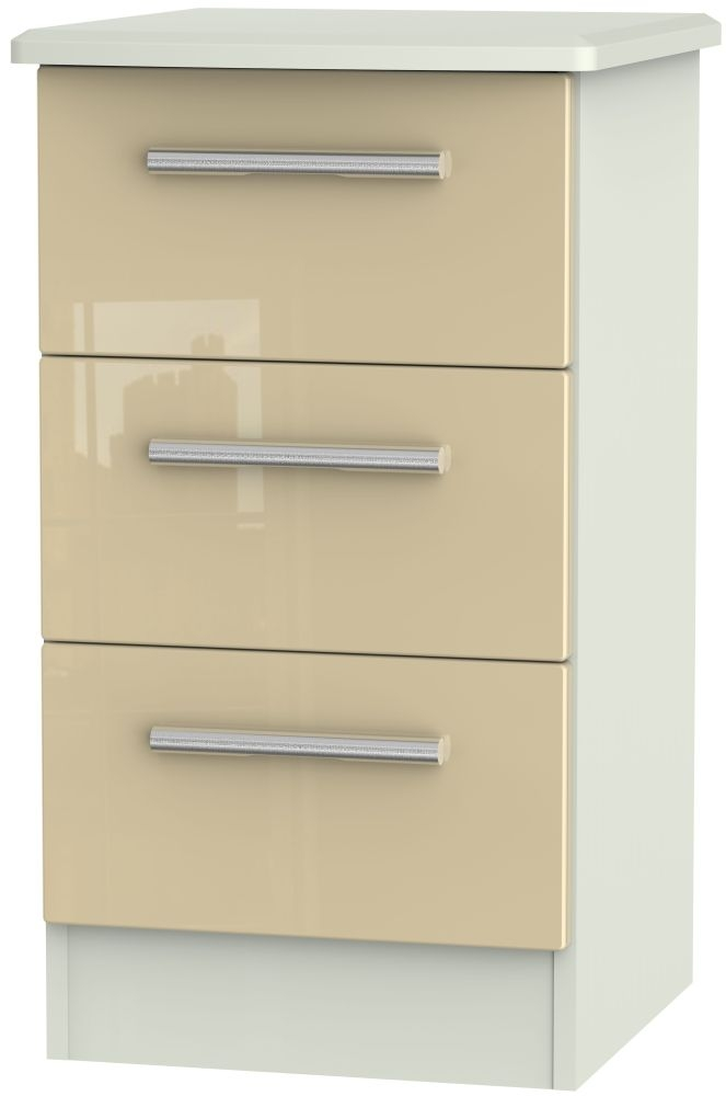 Knightsbridge 3 Drawer Bedside Cabinet - High Gloss Mushroom and Kaschmir Matt