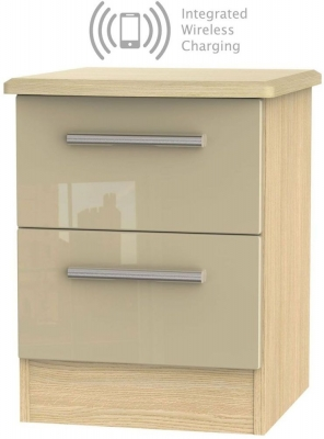 Knightsbridge 2 Drawer Bedside Cabinet with Integrated Wireless Charging - High Gloss Mushroom and Light Oak