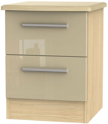 Knightsbridge 2 Drawer Bedside Cabinet - High Gloss Mushroom and Light Oak