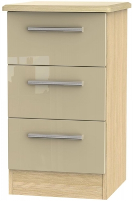 Knightsbridge 3 Drawer Bedside Cabinet - High Gloss Mushroom and Light Oak