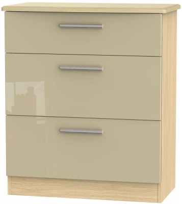 Knightsbridge 3 Drawer Deep Chest - High Gloss Mushroom and Light Oak