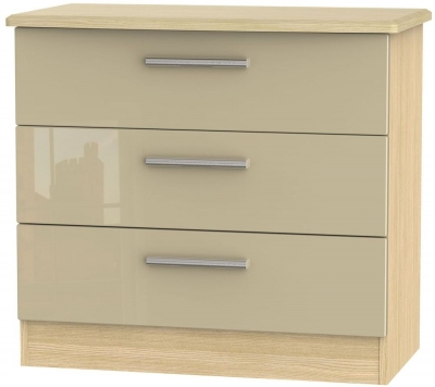 Knightsbridge 3 Drawer Chest - High Gloss Mushroom and Light Oak