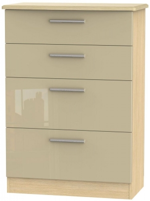 Knightsbridge High Gloss Mushroom and Light Oak Chest of Drawer - 4 Drawer Deep