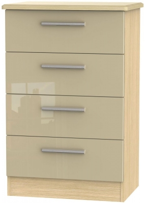Knightsbridge High Gloss Mushroom and Light Oak Chest of Drawer - 4 Drawer Midi