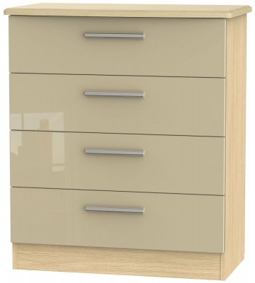 Knightsbridge 4 Drawer Chest - High Gloss Mushroom and Light Oak