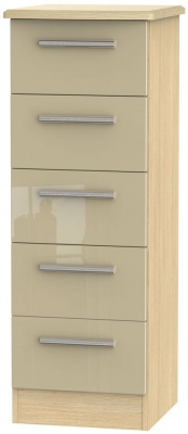 Knightsbridge 5 Drawer Tall Chest - High Gloss Mushroom and Light Oak