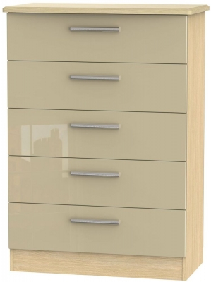 Knightsbridge 5 Drawer Chest - High Gloss Mushroom and Light Oak