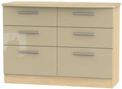 Knightsbridge 6 Drawer Midi Chest - High Gloss Mushroom and Light Oak