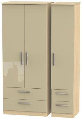 Knightsbridge 3 Door 4 Drawer Wardrobe - High Gloss Mushroom and Light Oak
