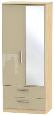 Knightsbridge 2 Door Combi Wardrobe - High Gloss Mushroom and Light Oak