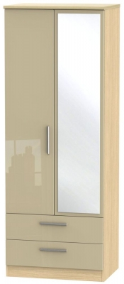 Knightsbridge 2 Door Tall Combi Wardrobe - High Gloss Mushroom and Light Oak