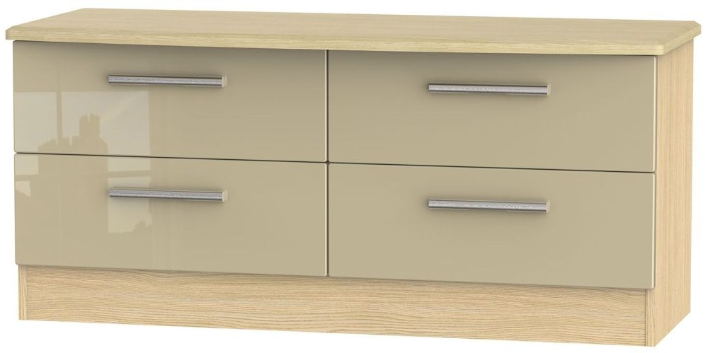 Knightsbridge High Gloss Mushroom and Light Oak Bed Box - 4 Drawer