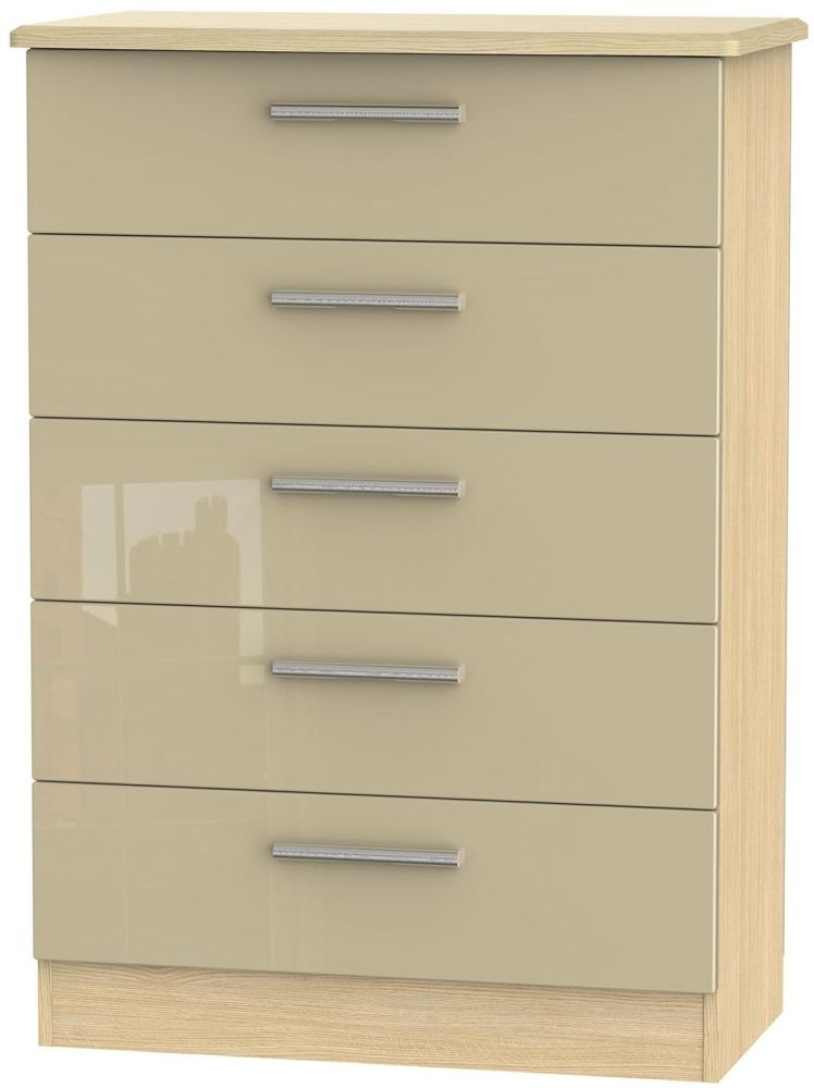Knightsbridge High Gloss Mushroom and Light Oak Chest of Drawer - 5 Drawer
