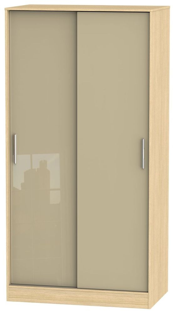 Knightsbridge High Gloss Mushroom and Light Oak Sliding Wardrobe - Wide