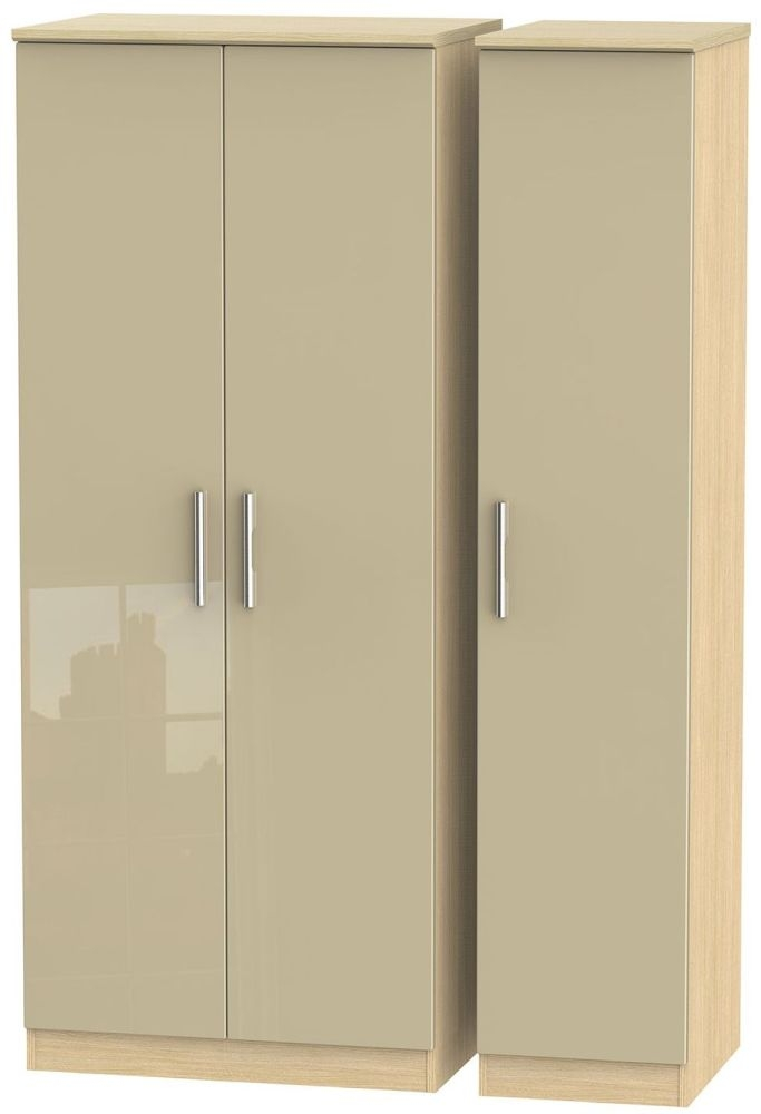 Knightsbridge 3 Door Wardrobe - High Gloss Mushroom and Light Oak