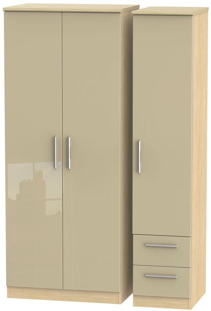 Knightsbridge 3 Door 2 Right Drawer Wardrobe - High Gloss Mushroom and Light Oak
