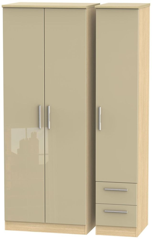 Knightsbridge High Gloss Mushroom and Light Oak Triple Wardrobe - Tall Plain with 2 Drawer