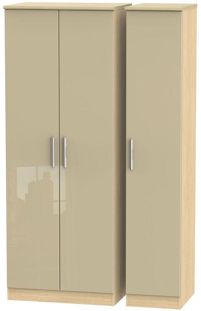Knightsbridge 3 Door Tall Wardrobe - High Gloss Mushroom and Light Oak