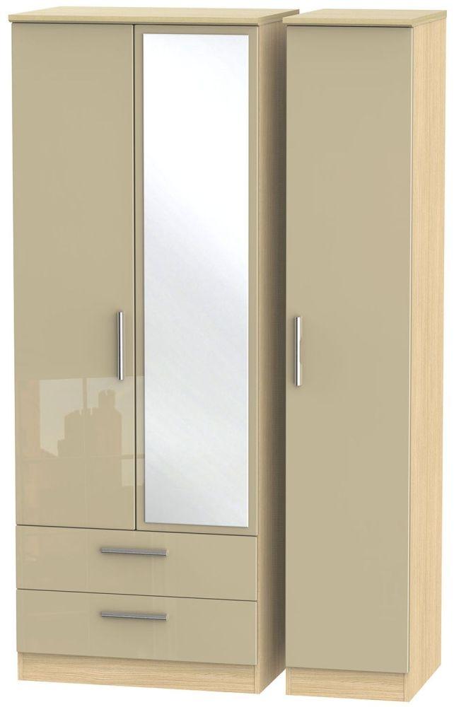 Knightsbridge High Gloss Mushroom and Light Oak Triple Wardrobe - Tall with 2 Drawer and Mirror