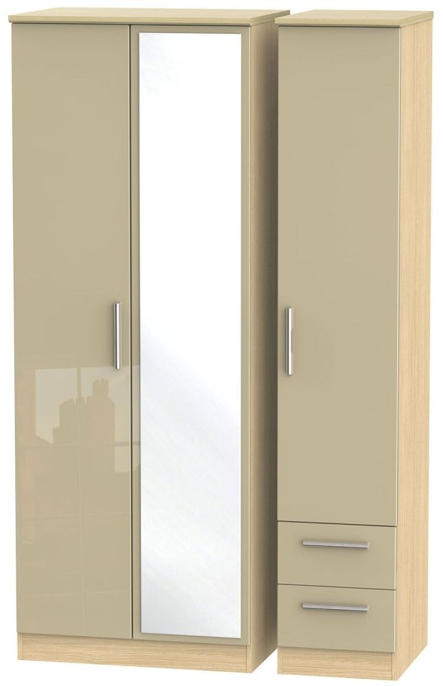 Knightsbridge High Gloss Mushroom and Light Oak Triple Wardrobe - Tall with Mirror and 2 Drawer